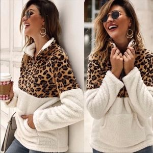 FAUX FUR LEOPARD PULLOVER SWEATER - NWT
